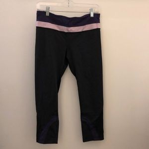 lululemon athletica Pants - Lululemon black &purple run inspire crop sz 8